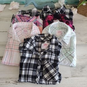 Lot of 7 Girls Button up Tops